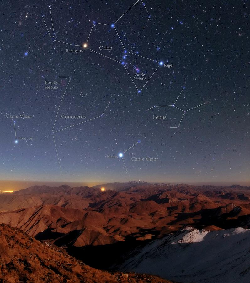 Orion Photograph - Orion And Sirius Over Iran by Babak Tafreshi/science Photo Library