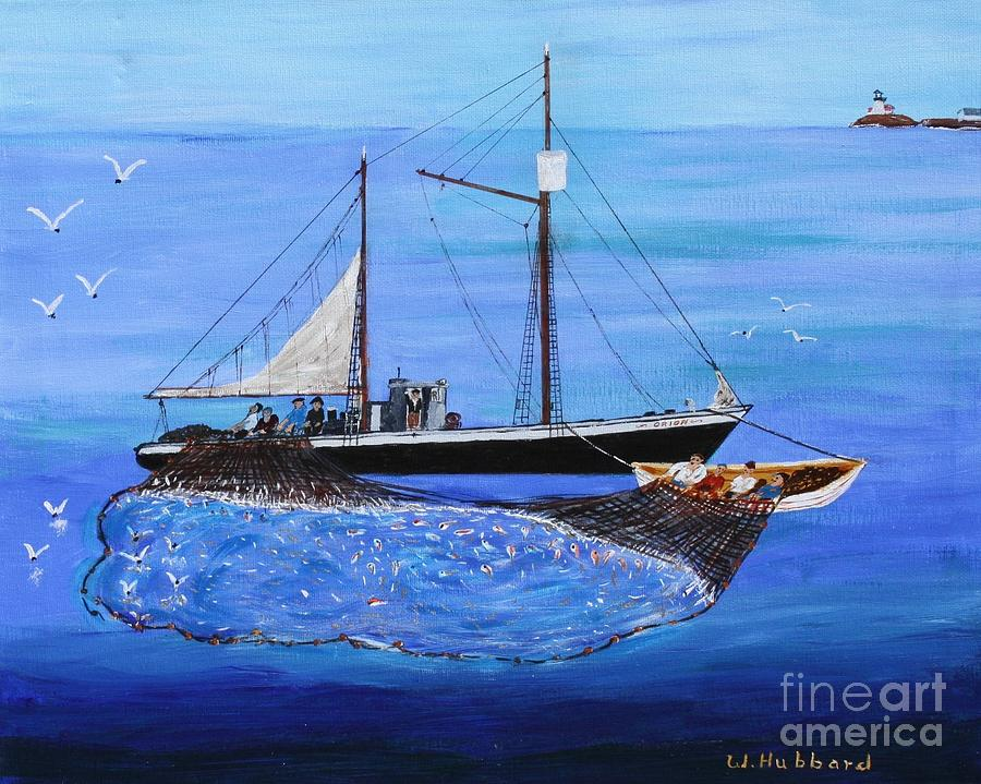 Fishing Vessel Painting - Orion At Work by Bill Hubbard