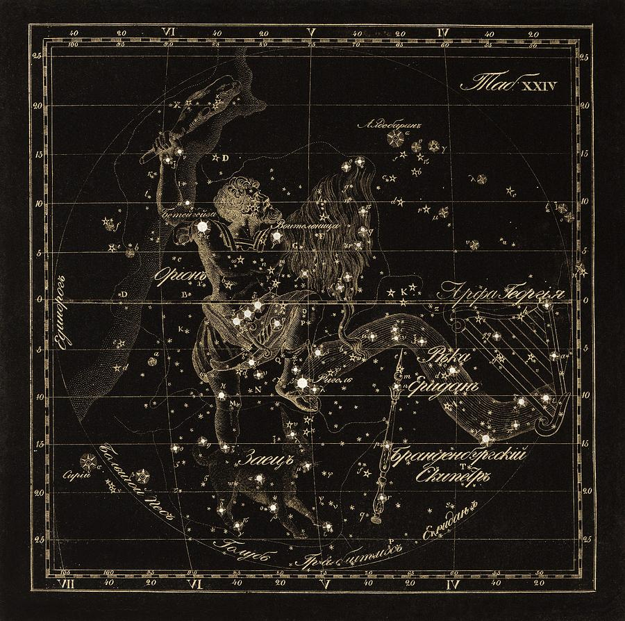 Orion Photograph - Orion Constellations, 1829 by Science Photo Library