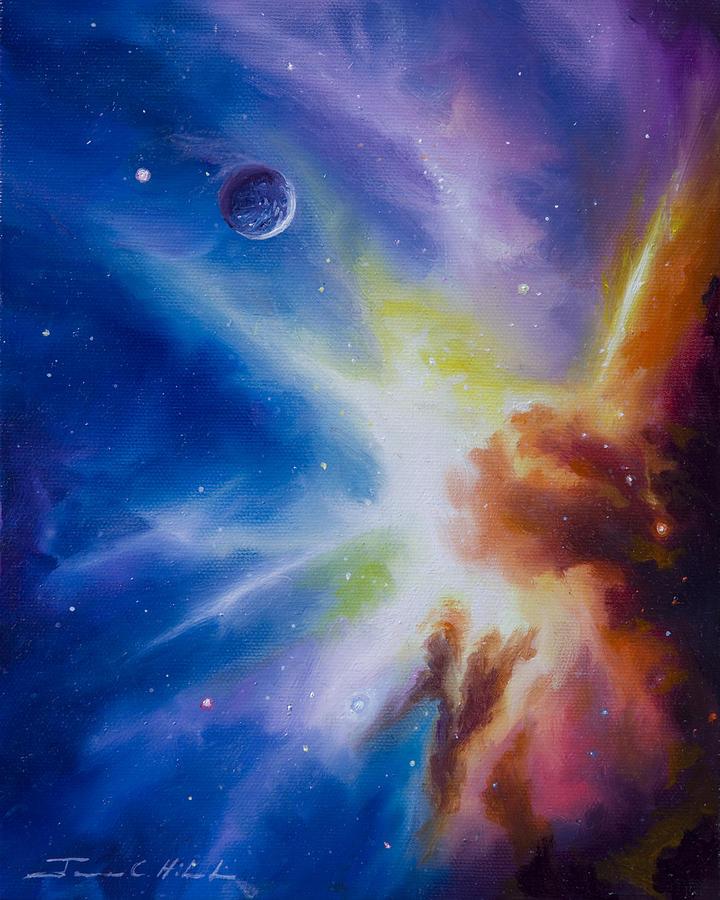 James Christopher Hill; Cosmos; Cosmic; Stars; Stellar; Gas; Clouds; Nebula; Nebulae; Planets; Quasars; Pulsars; Black Holes; Universe; Dark Matter; Anti Matter; Dark Energy; Hydrogen; Star Nursery; Galaxy; Einstien; Hawking; Jupitor; Sun; Gas Giant; Red Drawf; Red Giant; Blue Star; Saturn; Earth; Moon; Uranus; Neptune; Io; Mars; Europa; Pluto; Solar System; Star System; Space Scenes; Starship; Cruiser; Spaceship Painting - Orion Nebula by James Christopher Hill