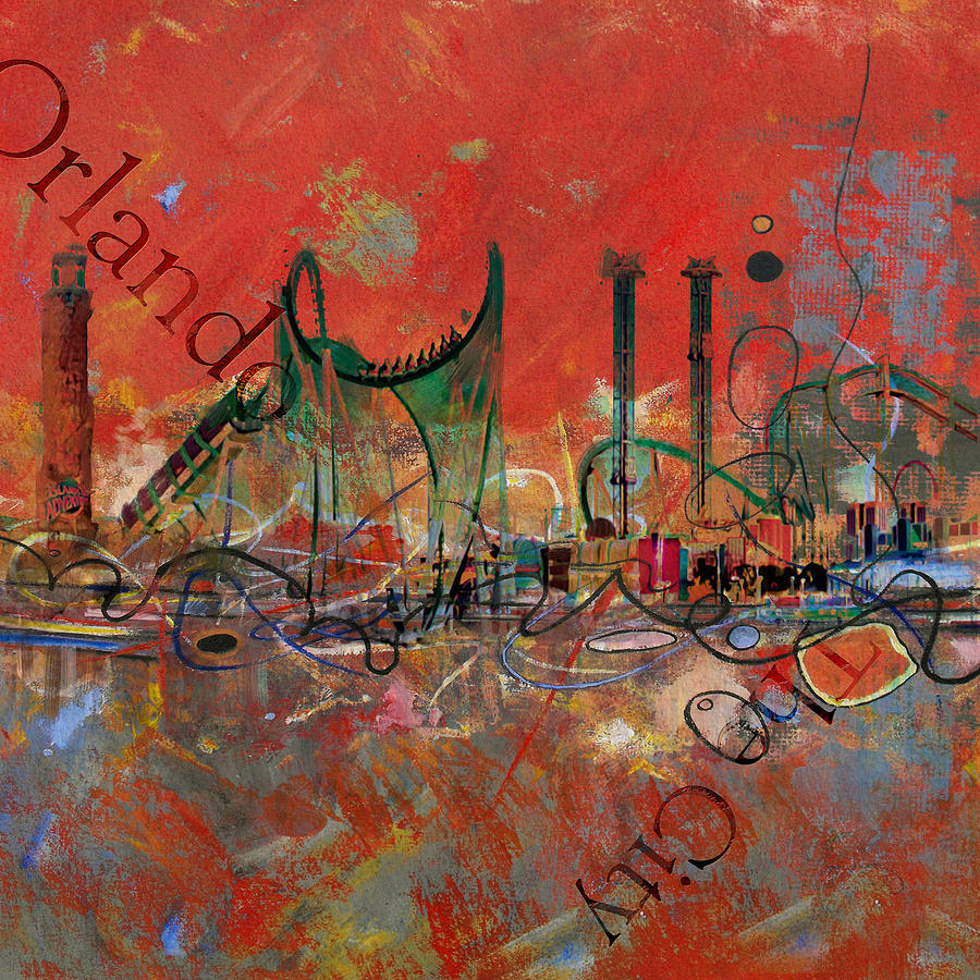 Orlando Painting - Orlando City Collage 2 by Corporate Art Task Force