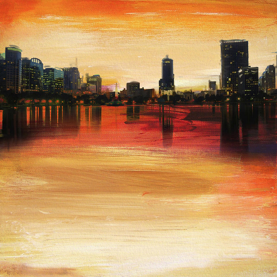 Orlando City Skyline Painting by Corporate Art Task Force