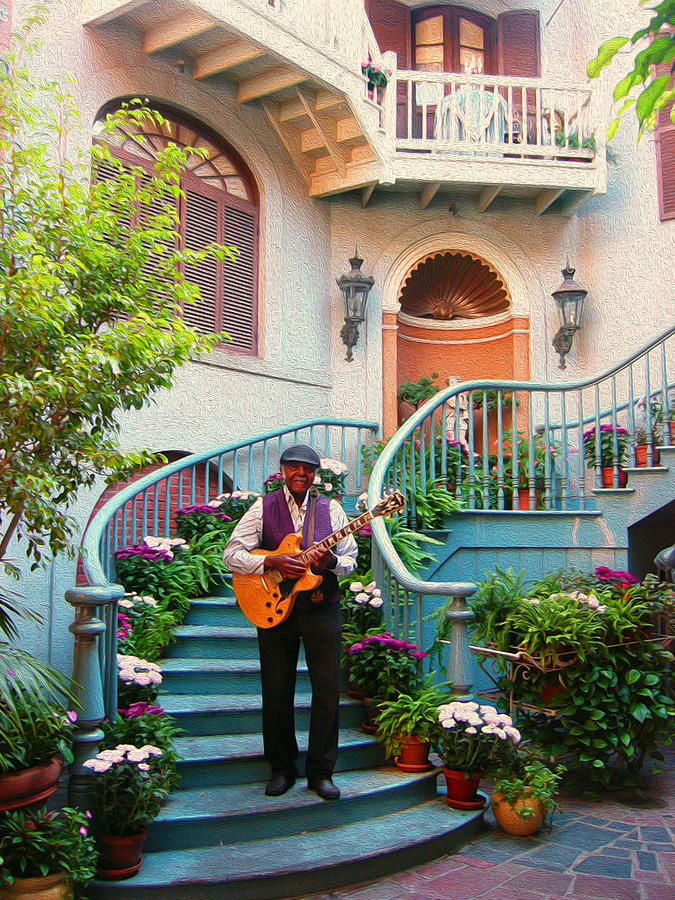 Guitar Photograph - Orleans Picker by Timothy Ramos