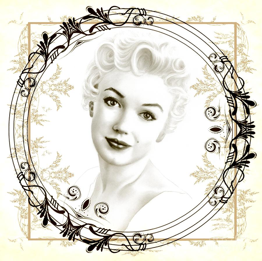 Marilyn Monroe Drawing - Ornamental Marilyn by Wu Wei