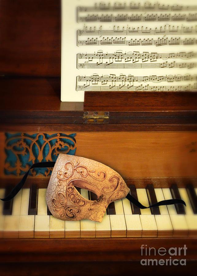 Piano Photograph - Ornate Mask On Piano Keys by Jill Battaglia