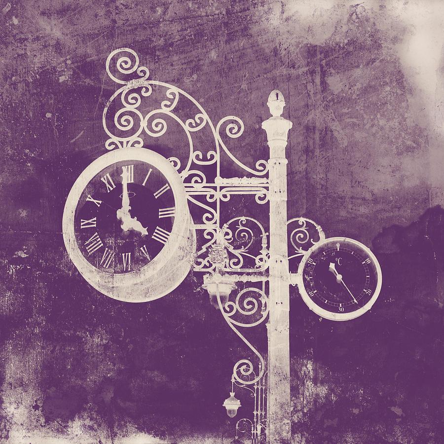 Ornate Vintage Clock Silhouette In Pink Digital Art By