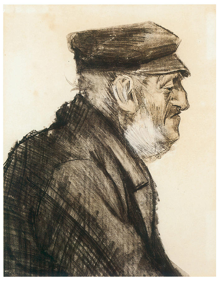 Old Man Drawing - Orphan Man Bust-length by Vincent van Gogh