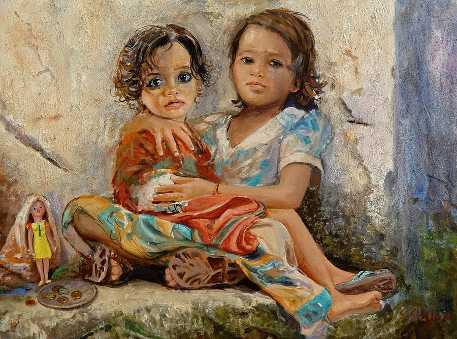 Orphans Painting - Orphans by Sefedin Stafa