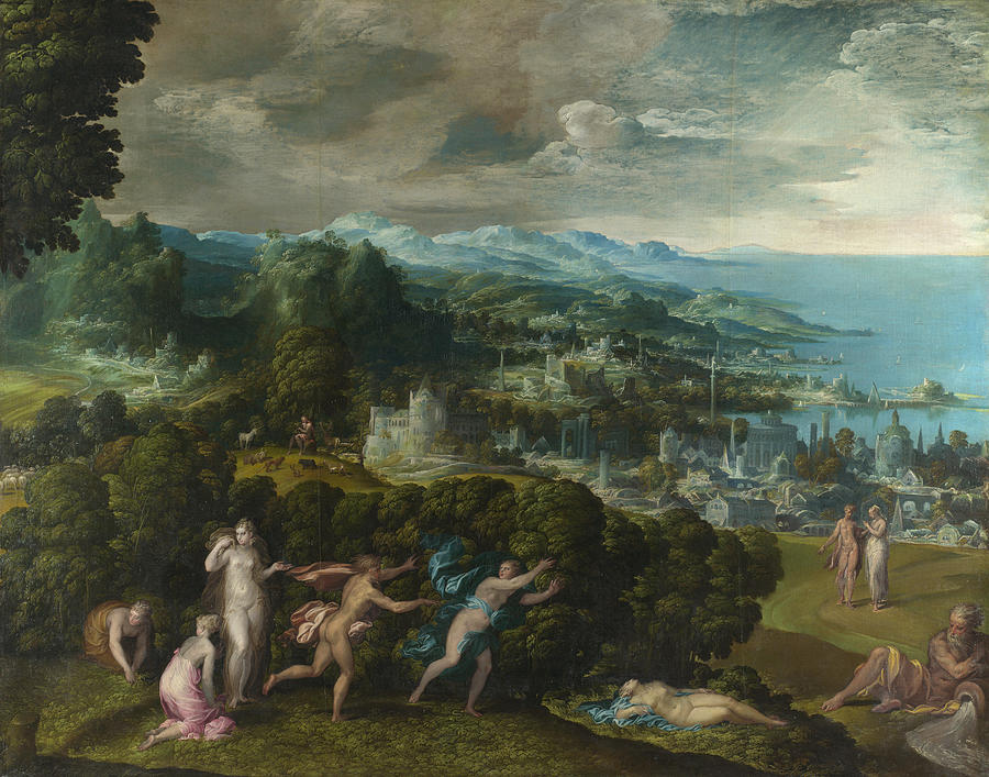 Niccolo Dell Abbate Painting - Orpheus And Eurydice by Niccolo dell Abbate
