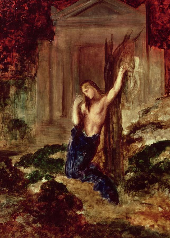 Gustave Painting - Orpheus At The Tomb Of Eurydice by Gustave Moreau