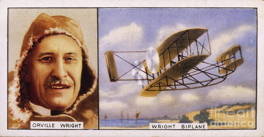Wright Photograph - Orville Wright And Biplane by Mary Evans Picture Library