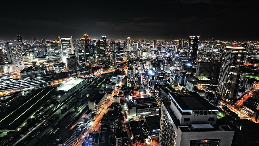 Night Photograph - Osaka Night View by Hiroaki Koga