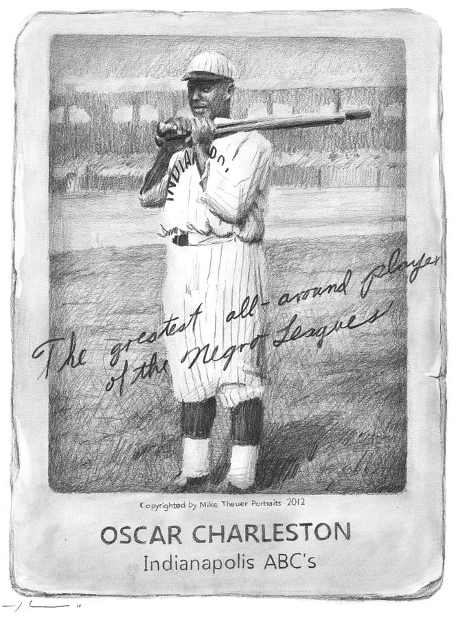 Oscar Charleston Baseball Card Pencil Portrait Drawing by Mike Theuer