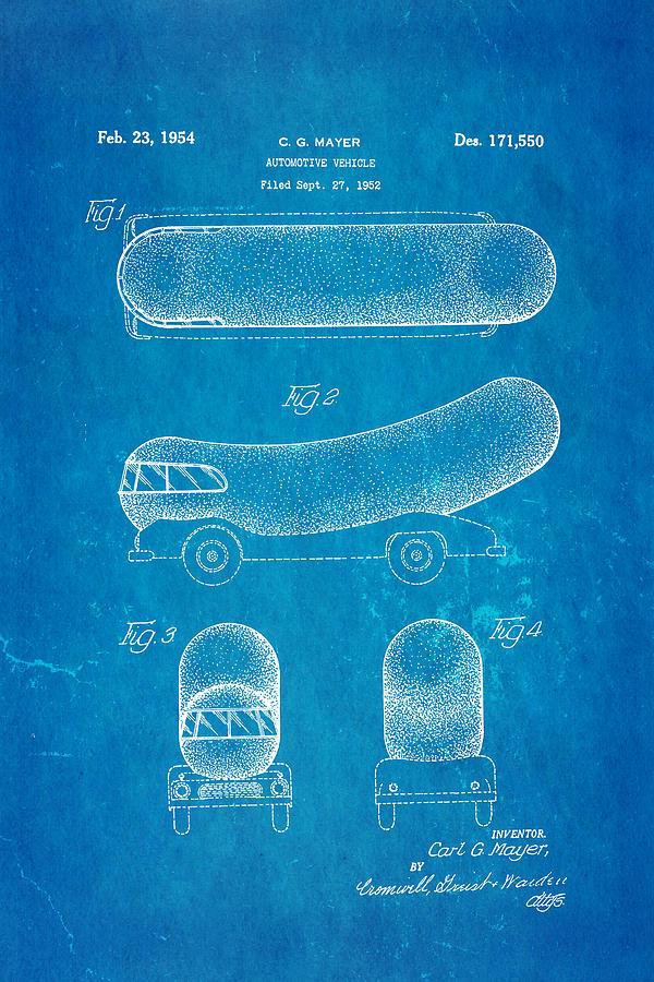 Automotive Photograph - Oscar Mayer Wienermobile Patent Art 1954 Blueprint by Ian Monk
