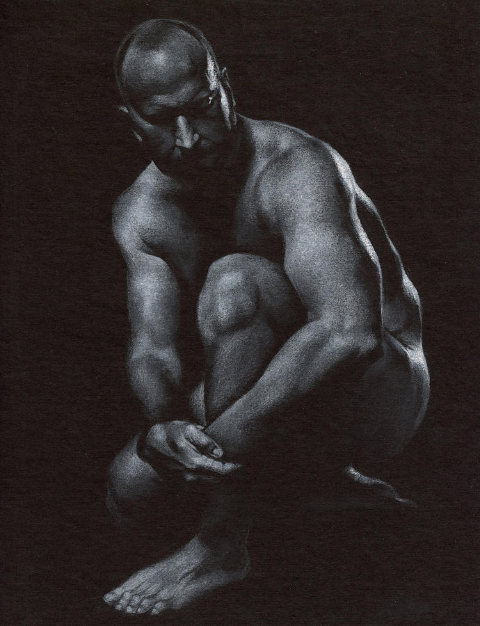 Male Drawing - Oscuro 10 by Chris Lopez