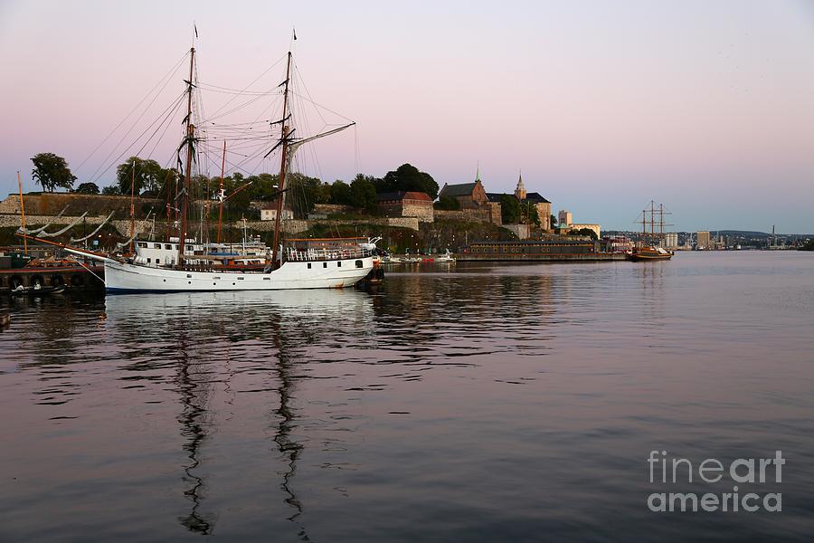 Oslo Harbor At Sunset Photograph