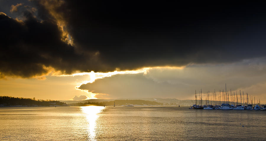 Sunset Photograph - Oslo Harbor Sunset by Aaron Bedell