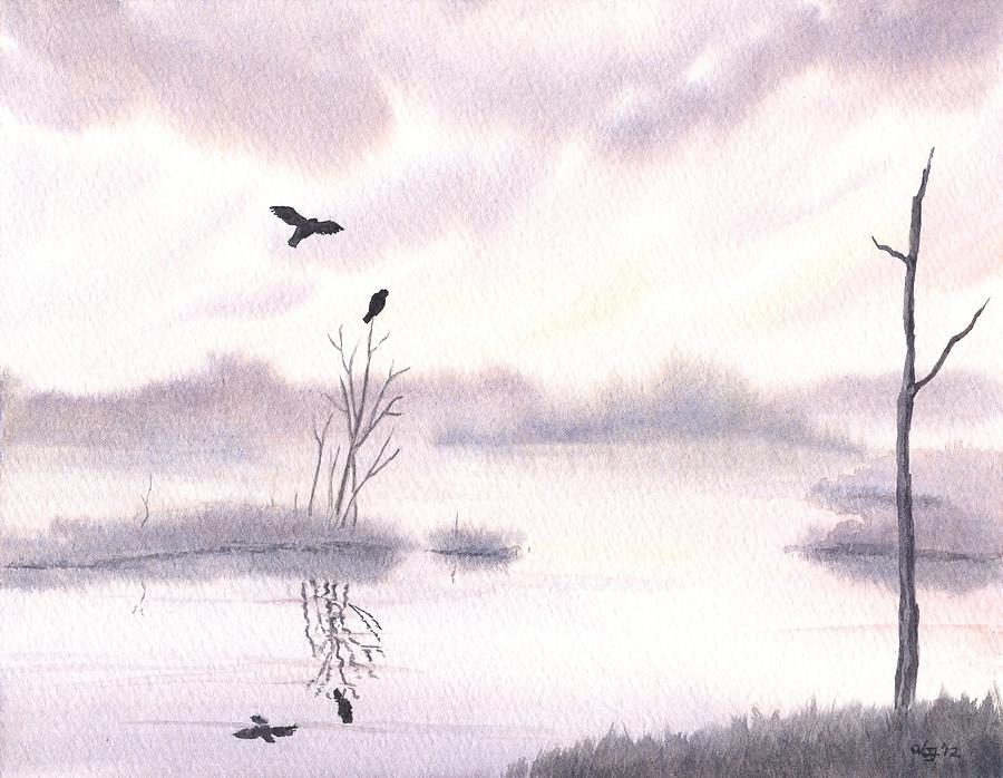 Watercolor Painting - Ospreys At Dawn by Anna Bronwyn Foley
