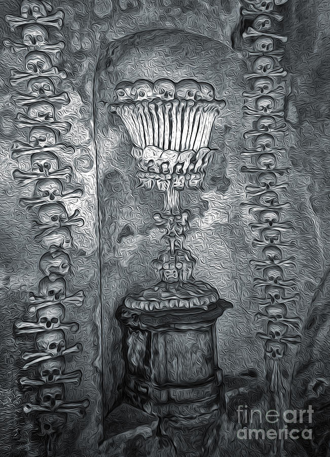 Ossuary Sedlec Painting - Ossuary Sedlec - Chalace by Gregory Dyer