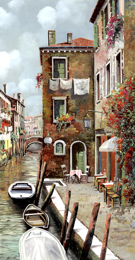 Venice Painting - Osteria Sul Canale by Guido Borelli