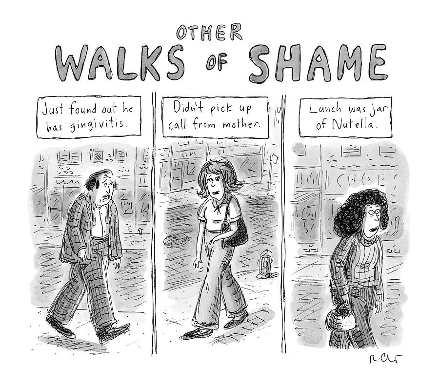 Other Walks Of Shame -- Just Found Drawing by Roz Chast