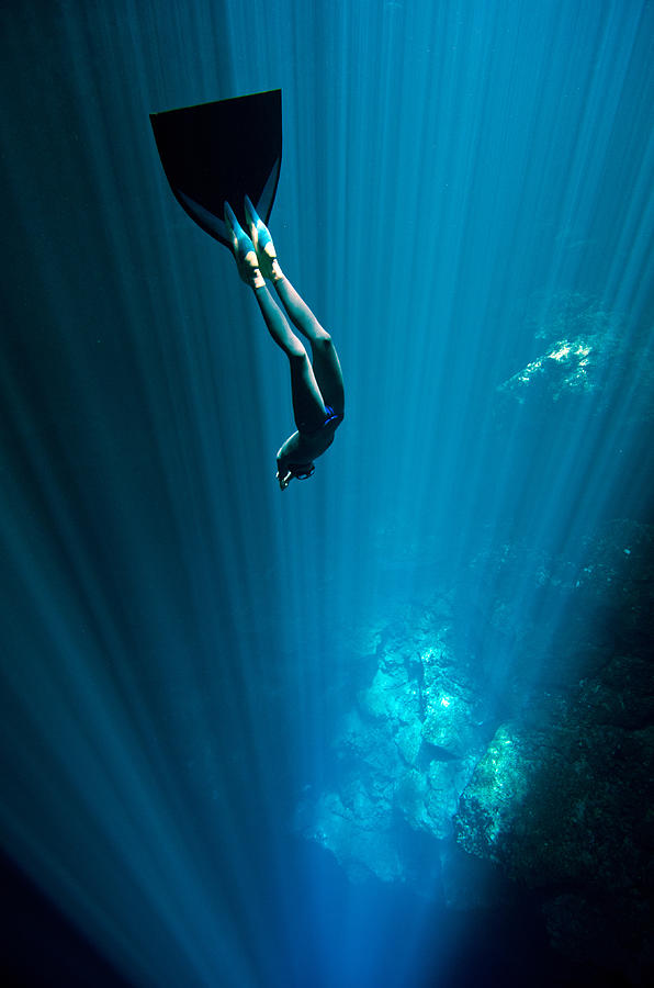 Freediving Photograph - Into The Blue by One ocean One breath