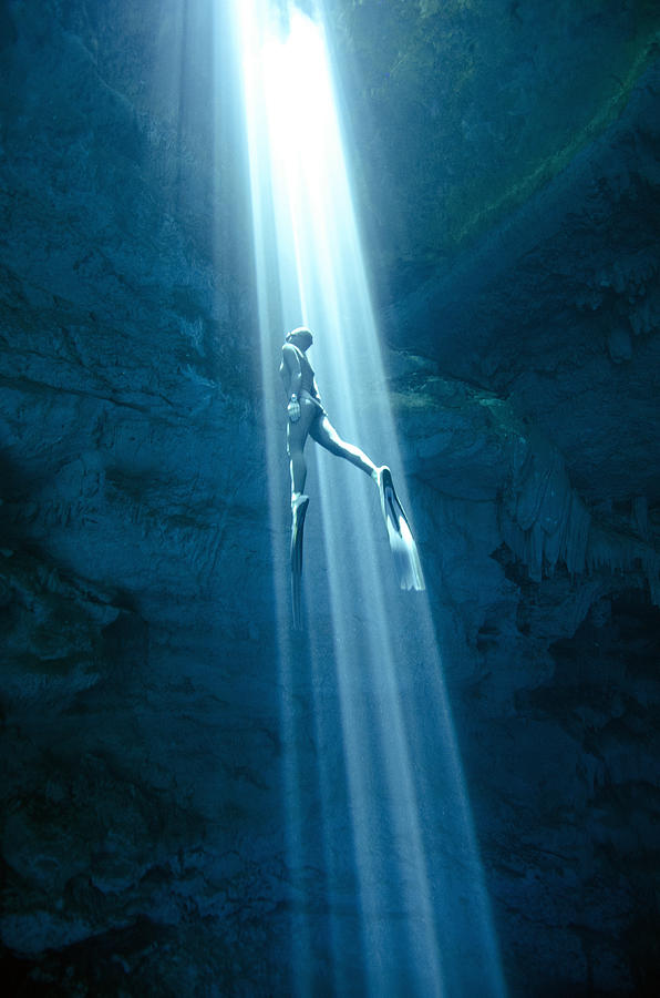 Freediving Photograph - Into The Light by One ocean One breath