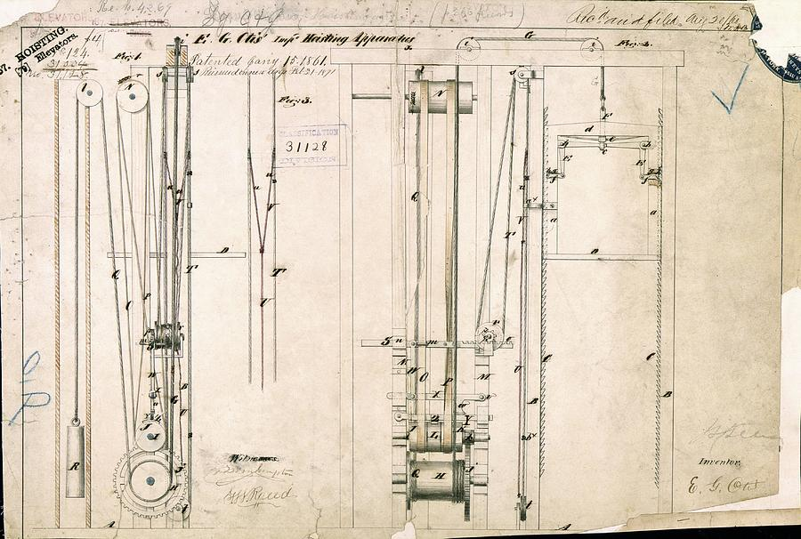 Machine Photograph - Otiss Safety Elevator Patent by Us National Archives And Records Administration/ Science Photo Library