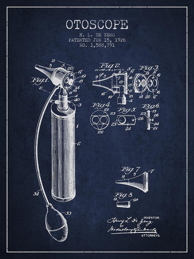 Otoscope Patent From 1926 - Navy Blue Digital Art