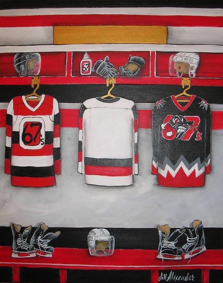 Hockey Painting - Ottawa 67s Player Locker Room by Jill Alexander
