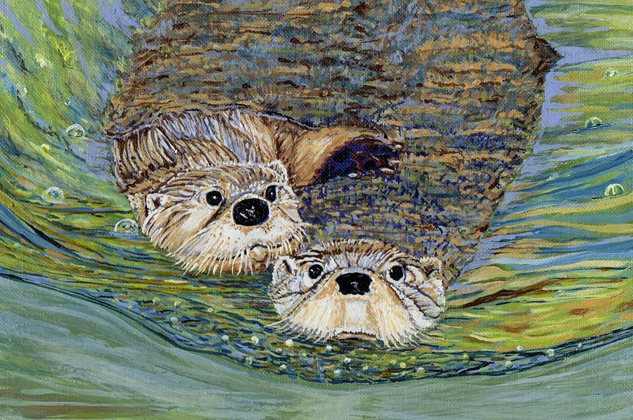 Otter Painting - Otter Pals by Sandra Wilson