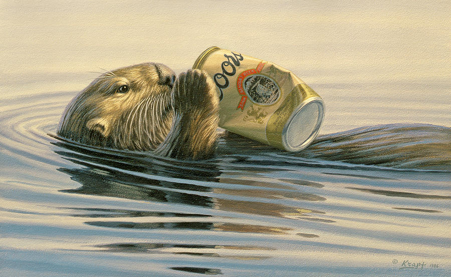Wildlife Painting - Otters Toy by Paul Krapf