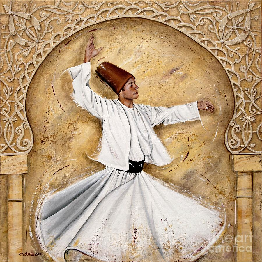 Ottoman Dervish On Cream Painting By Carol Bostan