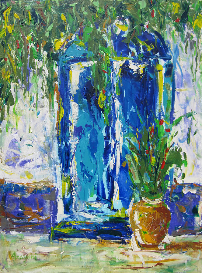 Contemporary Painting - Our Blue Door by Khalid Alzayani