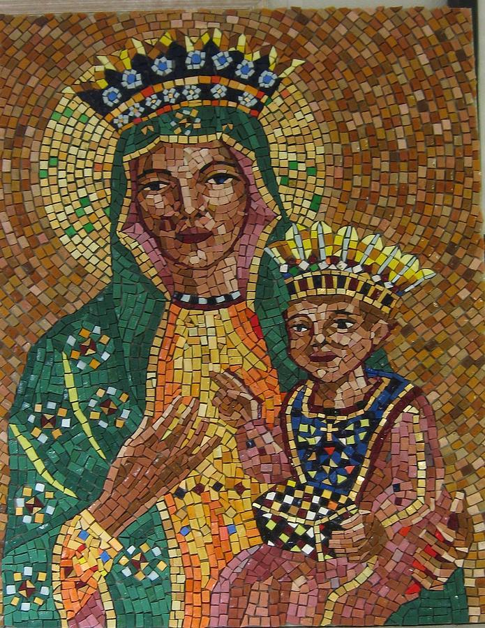 Mosaic Portrait Relief - Our Lady Of Czetochowa by Patrick RANKIN