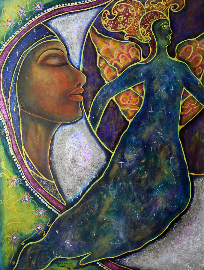 Our Lady Painting - Our Lady Of Moonlit Mysteries by Marie Howell Gallery