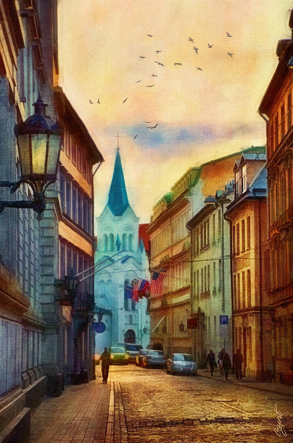 Town Painting - Our Lady Of Sorrows Church by Gynt