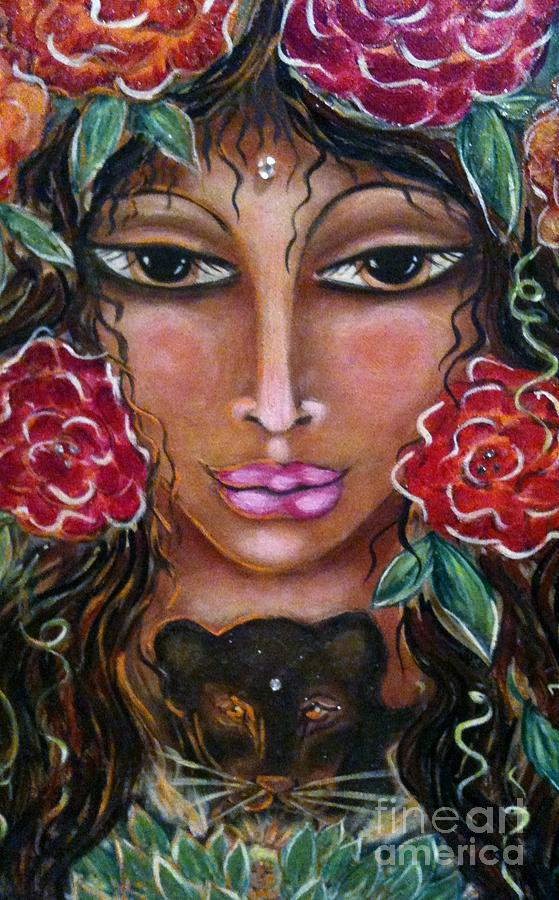 Goddess Painting - Our Lady Of The Lion Heart by Maya Telford