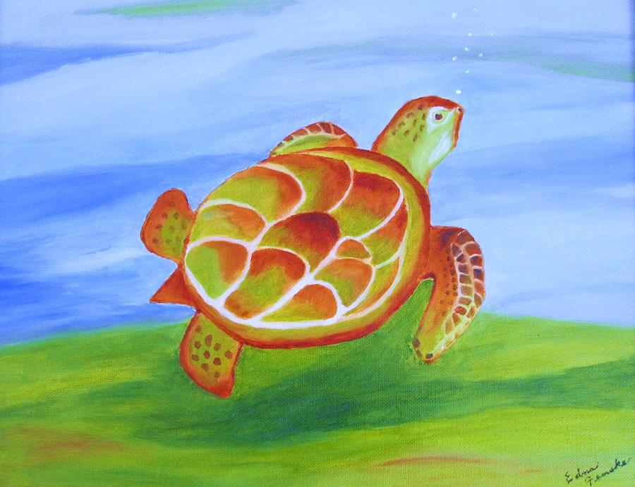 Sea Turtle Painting - Out For A Swim by Edna Fenske