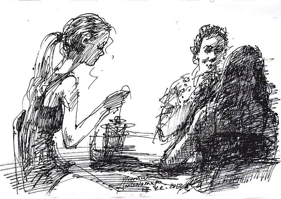 Beautiful Girls Drawing - Out For A Tea by Ylli Haruni
