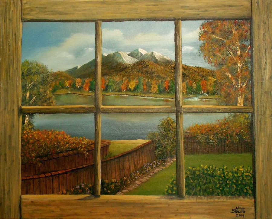 Out My Window Autumn Day Painting By Sheri Keith
