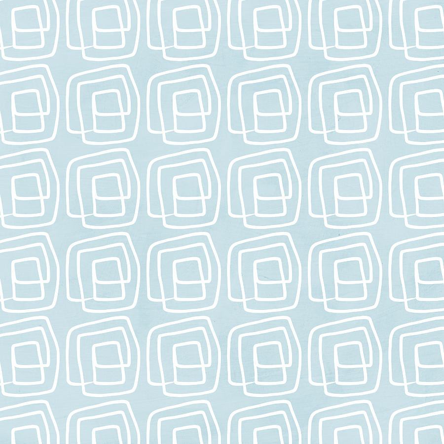 Boho Painting - Out Of The Box Blue And White Pattern by Linda Woods