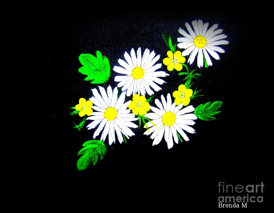 Daisy Painting - Out Of The Darkness Comes Light by Brenda Mayall