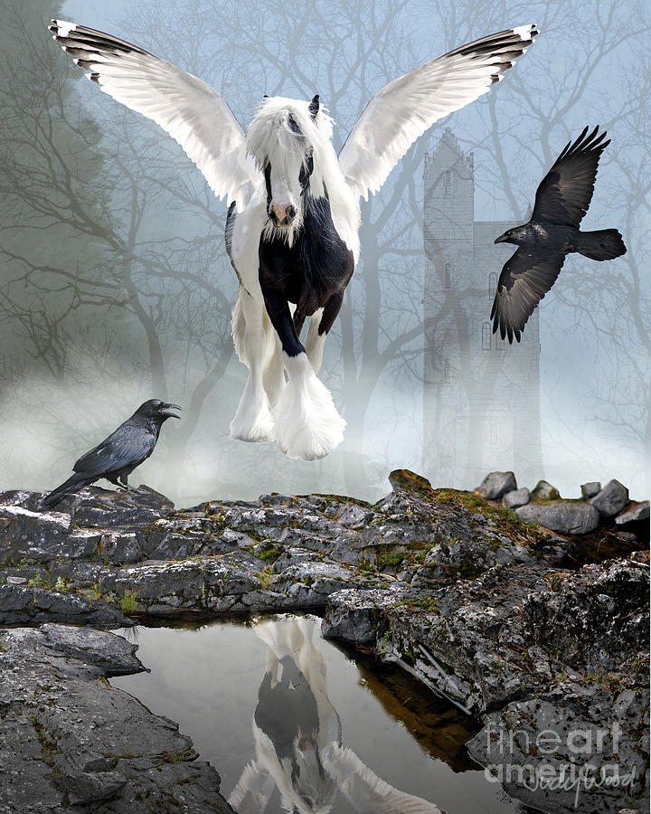 Winged Horse Digital Art - Out Of The Mist by Judy Wood