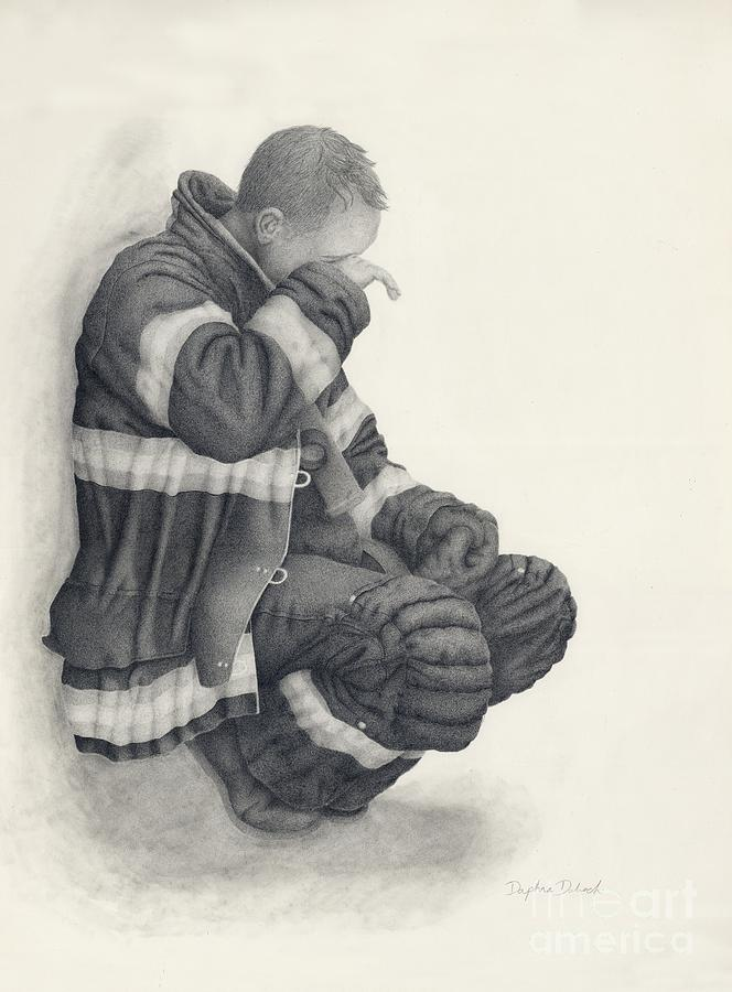 Fireman Drawing - Out Of The Smoke by Daphna Dabach