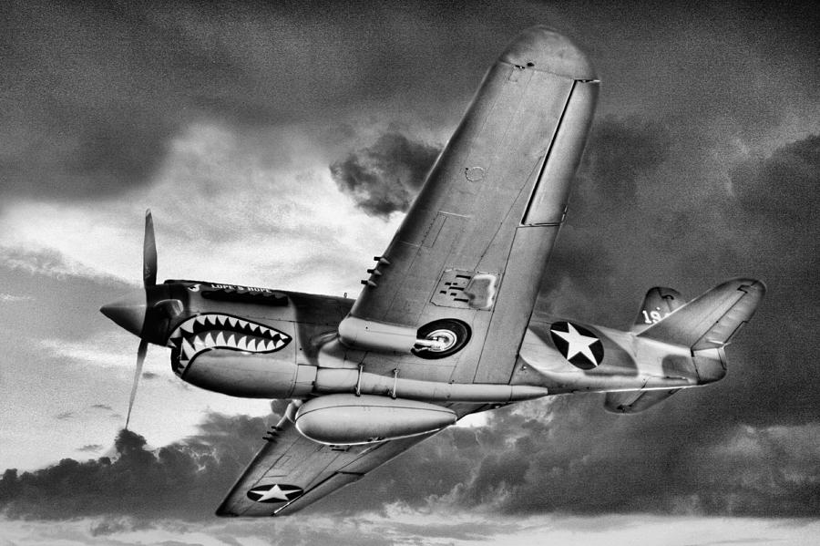 P40 Photograph - Out Of The Storm Bw by JC Findley