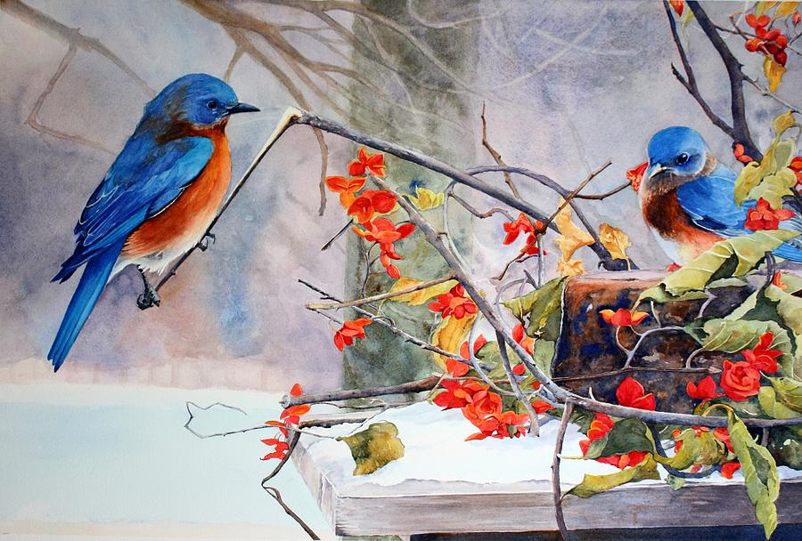 Bluebirds Painting - Out On A Limb by Brenda Beck Fisher
