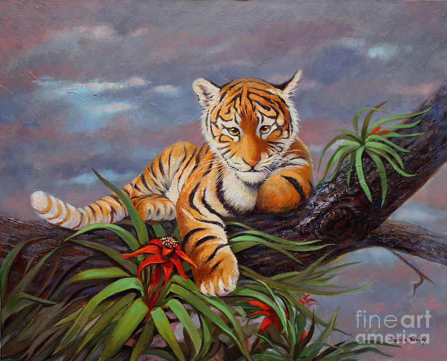 Tiger Cub Painting - Out On A Limb by Silvia  Duran