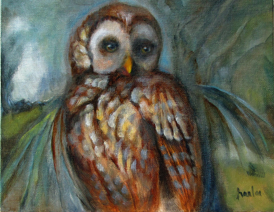 Barred Owl Painting - Out On a Limb by Susan Hanlon