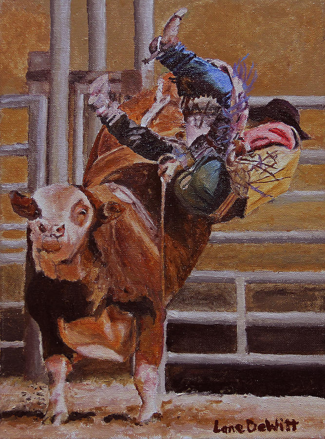 Rodeo Painting - Out The Side Door by Lane DeWitt